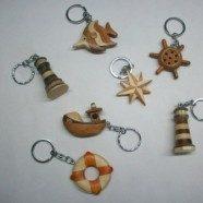 Portachiavi in legno soggetti marini