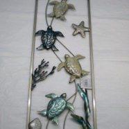 Murale quattro tartarughe in metallo mis. cm 30×77