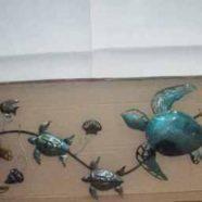 Murale cinque tartarughe in metallo mis. cm 115,5×36
