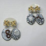 Orecchini argento bianco/dorato con cammei
